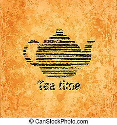 Tea time background - Black silhouette of teapot on old ...