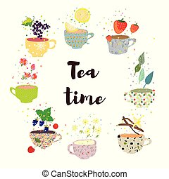 Tea time background with cups