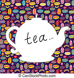 Tea time background with teapot and pattern