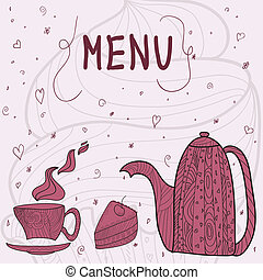 Tea time card menu - white card with tea accessories and...