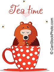 Tea Time Cartoon Teddy Bear Character Sit In Mug