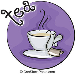 Tea Time - Icon Illustration Featuring a Cup of Tea
