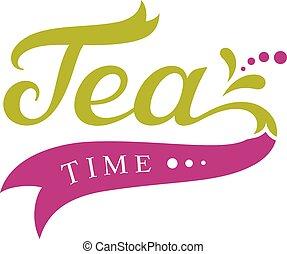 Tea time design, menu template, calligraphic inscription with design elements