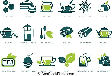 Tea time icons set, cookie, cake, kettle, cup, sugar, french press, teaspoon, lemon, infusion bag, strainer linear vector Illustrations