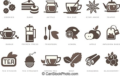 Tea time linear icons set, cookie, cake, kettle, cup, sugar, french press, teaspoon, lemon, apple, infusion bag, strainer black vector Illustrations