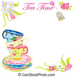 Tea time party invitation with copy space