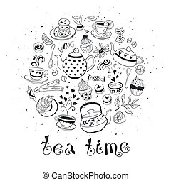 Tea time poster concept. Coffee party card design. Hand drawn doodle illustration with teapots, cups and sweets.