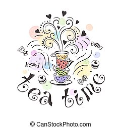 Tea time poster concept. Tea party card design. Hand drawn doodle illustration with teapots, cups and sweets.