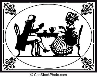 Tea time - Retro victorian illustration. Man and woman...