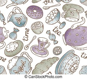 Tea time seamless pattern with doodle elements and watercolor te