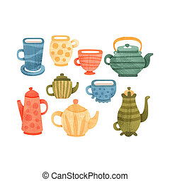 Tea time set, collection of cups, mugs, coffee and teapots vector Illustrations on a white background