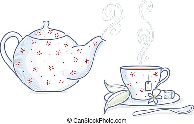 Tea time - Teapot and tea cup with hot tea
