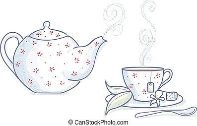 Tea time - Teapot and tea cup with hot tea
