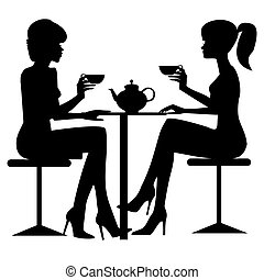Two women drinking tee or coffe. Black silhouette. File included vector Eps v8 and 300 dpi JPG.