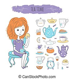 Tea time vector illustration with image of girl