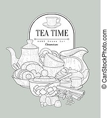Tea Time Vintage Sketch
