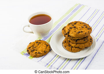 Tea time with chocolate chip cookies