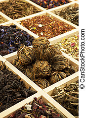 Tea collection. Various tea sorts in wooden box.