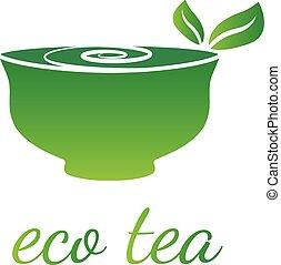 tea., vecteur, feuille, illustration, tasse