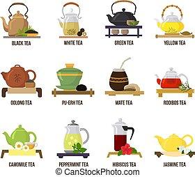Tea vector green or black-tea in teapot illustration ...