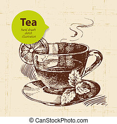 Tea vintage background. Hand drawn sketch illustration. Menu design
