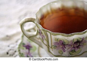 tea violet 01 - close-up of teacup setting