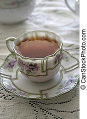 tea violet 02 - close-up of teacup setting