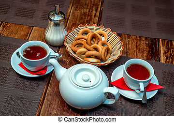 Tea with bagels Russian tradition
