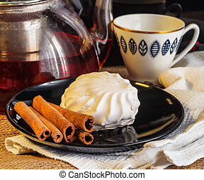 tea with cake on the table