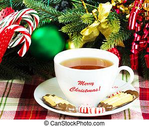 Tea with Christmas candy