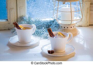 Tea with cinnamon and orange for Christmas