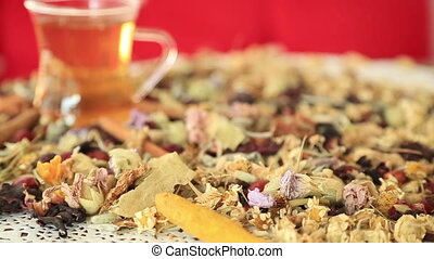 Tea with different kind of healing herbs