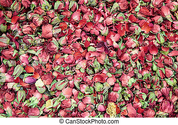 tea with dry rose petals Background