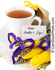 Tea with flowers and gift box for mom