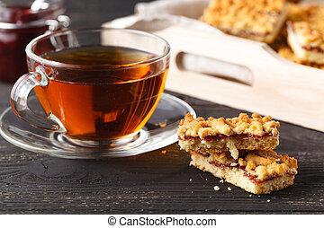Tea with gingebread cookies in christmas evening