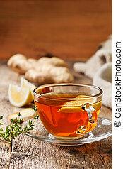 tea with ginger, lemon