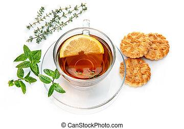 Tea with herb leaf mint thyme