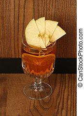 Tea with lemon on wood. Close up - Tea with lemon on wood,...