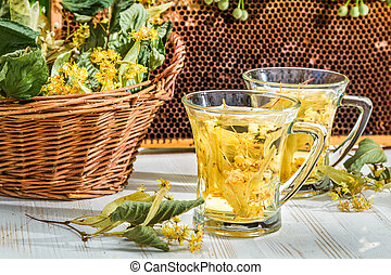 Tea with lime and honey served in the garden at summer