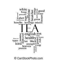 Tea Word Cloud Concept in black and white