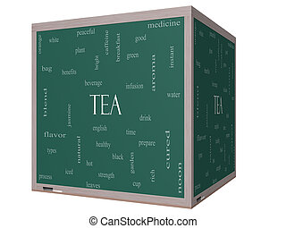 Tea Word Cloud Concept on a 3D cube Blackboard