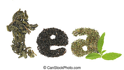 Tea word made of tea varieties - Tea word made of tea...