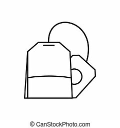 teabag, ícone, esboço, estilo
