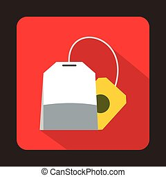 Teabag icon in flat style