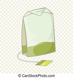 Teabag of green tea icon, cartoon style