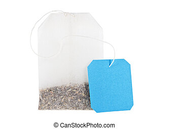 Teabag with blue label isolated on a white background