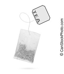Teabag with label isolated on a white
