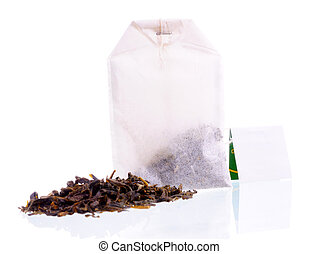 Teabag with white label and tea loose