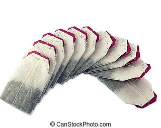 Teabags isolated on a white background