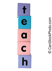 teach in toy play block letters with clipping path on white